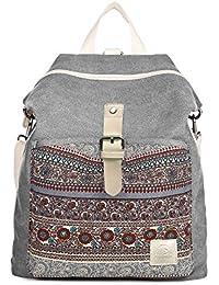 MojiDecor Vintage Canvas Herren Damen Rucksack Bohemien Multifunktionstasche Schultertasche Retro Schulrucksack Backpack für Arbeit, Schule und Lässige täglich