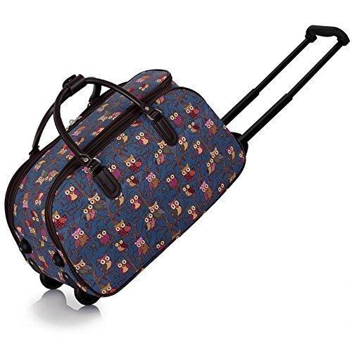 TrendStar Meine Damen Reisetaschen Holdall Frauen Handgepäcks Eule Print Wochenende Rolliges Laufwerk Handtasche Marine