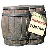 REGENTONNE EICHENFASS REGENFASS 2*50 Liter als REGENSAMMLER MÜLLEIMER SPIELZEUGKISTE ALLZWECKBOX ALLZWECKKISTE AUFBEWAHRUNGSBOX BEHÄLTER KISTE BOX TRUHE, stabil, auch zum Sitzen, fühlbare und täuschend-echte Holzstruktur, schönes HOLZ-DESIGN!