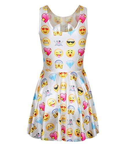 Olivia's Stylism Boutique Damen Emoji Eindruck Minikleid ?rmellos Rundhalsausschnitt Kleid (Emoji-kleider Für Frauen)