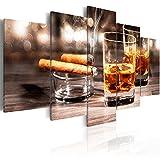 murando - Bilder 200x100 cm Vlies Leinwandbild 5 tlg Kunstdruck modern Wandbilder XXL Wanddekoration Design Wand Bild - Whisky Zigarre 030106-14