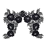 1 Par De Ganchillo Escote Collar De Flores Lacetrimming Apliques Negro