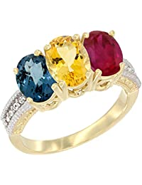 14 ct Gelb Gold Natural London Blau Topas, Citrin & Enhanced Ruby Ring Ehering 7 x 5 mm Oval Diamant Accent, Größe L