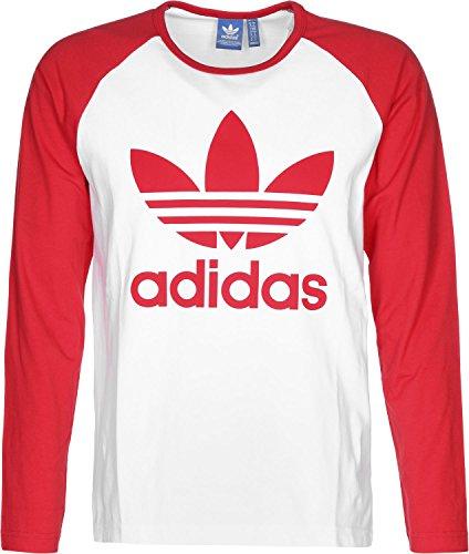 adidas Herren Trefoil Langarm Shirt, White/Vivid Red, M (Weißes Adidas Langarm-shirt)