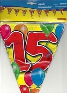 Folat Guirnalda de banderines para Fiesta de 15 cumpleaños, 10 m