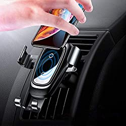 Chargeur sans Fil de Voiture, Auto sans Fil à Induction, Charge Qi 10w pour Galaxy S10 S9 S8 S8 + S7 Edge, Charge Standard pour iPhone XS XR XSMax X 8 Plus Huawei Mate 20 Pro P30 Pro - Noir