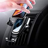 Wireless Car Charger Mount, Baseus Wireless Charger Car Phone Holder, 10w Qi Charge for Galaxy S9 S8 S8 Plus S7 S7 Edge, Standard Charge for iPhone XS/XSMax/XR/X/8/8 Plus/HUAWEI Mate 20 Pro/RS Black