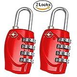 2cadenas Aulola® à combinaison de 4chiffres, pour valise, bagages, verrou de sécurité à code numérique, passe les contrôle de sécurité et se re-verrouille sans s'endommager