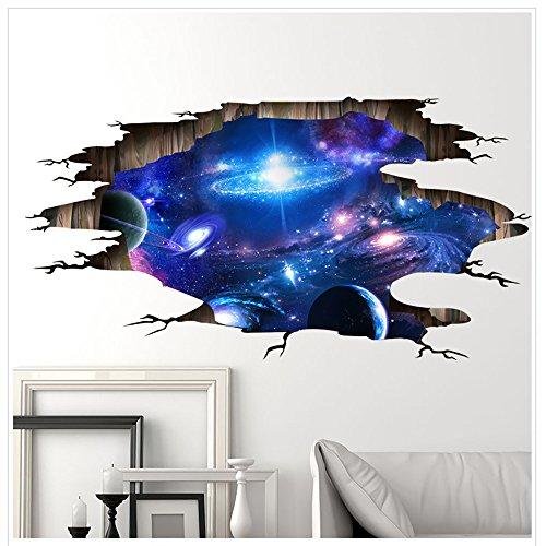 Alxcio 3D Wandaufkleber Aufkleber Wandbild Removable Decals Kunst Zimmer Dekor Wohnzimmer Schlafzimmer Kinderzimmer Sofa Hintergrund Wandtattoo Möbel (Galaxy 2)