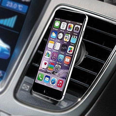 Flexymove - Support Magnétique aimanté Auto fixation pour grille voiture téléphone pour Iphone 6/6s/6plus/6splus/5/5s/5c/4/4s ou Samsung Galaxy S5/S4/S3/Note 3 et autres smartphones
