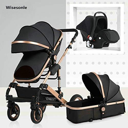 HXPH Passeggino 3 in 1 Carrozzina neonatale Alta Paesaggio Carrozzina Quattro Stagioni Passeggino smorzamento Pieghevole Carrello per Bambini (Nero-m)