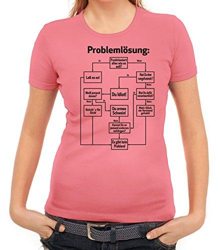Nerd Damen T-Shirt mit Problemlösung Motiv von ShirtStreet Rosa