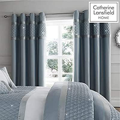 Catherine Lansfield Sequin Cluster Eyelet Curtains Duck egg,