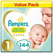 Pampers Premium Protection Softest Comfort Nappies Jumbo Pack Approved by British Skin Foundation, Size 1, 144-Count