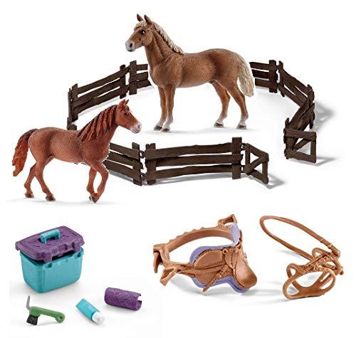 5in1-SET Schleich Pferde Horse Club - Morgan Horse Hengst & Stute + Zaun + Sattel Zaumzeug und Pflegeset 13869 + 13870 + 42165 + 42304 + 42366