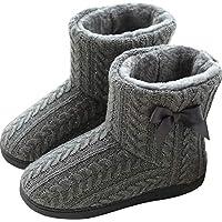 WANONE Slipper Boots Women Ladies Hard Sole Outdoor Indoor House Booties Fleece Lined Warm Winter Girls Home Shoes Non Slip Grey Size 6/6.5