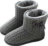 WANONE Hausschuhe Damen Mädchen Plüsch Hausstiefel Hüttenstiefel Winter Hüttenschuhe Hohe Pantoffeln Warm Fell Strick Slipper Grau Größe 37 38