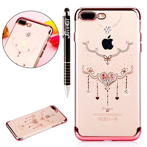 Custodia iPhone 7 Plus, iPhone 7 Plus Cover Silicone, SainCat Cover per iPhone 7 Plus Custodia Silicone Morbido, Custodia Bling Glitter Strass Diamante Silicone 3D Design Ultra Slim Silicone Case Ultr Collana in Pizzo #2