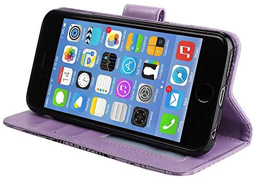 Coque Iphone 5S Neuf, Iphone SE Accessories, Iphone 5S Coque silicone, Iphone 5 Coque silicone, Nnopbeclik® Mode Fine Folio Wallet/Portefeuille en Bonne Qualité PU Cuir Housse pour Iphone 5/5S/SE (4.0 pourpre
