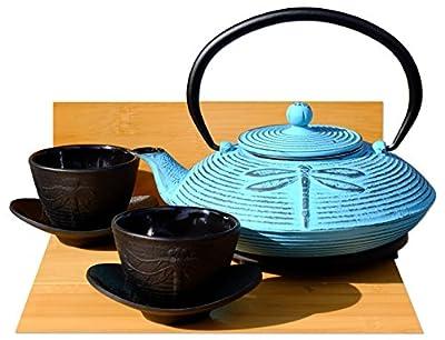 Service à thé en fonte Bleu clair Motif libellule d -, dessous de théière et 2tasses