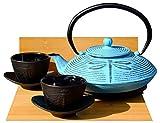 Gifts Of The Orient GOTO® - Hierro Fundido Luz Azul Libélula Juego De Té D - Arrabio Tetera Hervidor, Salvamanteles & Tazas X 2