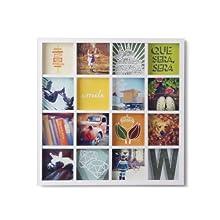 Umbra 311030-660 Gridart - Cornice multipla portafoto, per 16 foto, colore: Bianco, white, legno