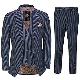 """Mens 3 Piece White Pin Stripe on Blue Suit Retro Fitted 1920s Peaky Blinders[SUIT-3802-3-NAVY-36,UK/US 36 EU 46,Trouser 30""""]"""