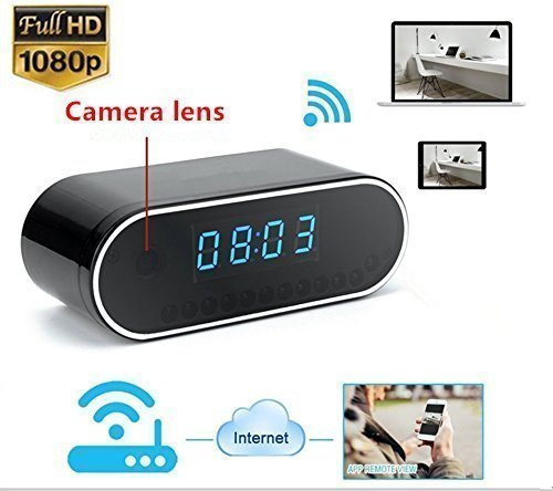 TenSky 1080P HD Reloj Despertador WiFi Red Espía