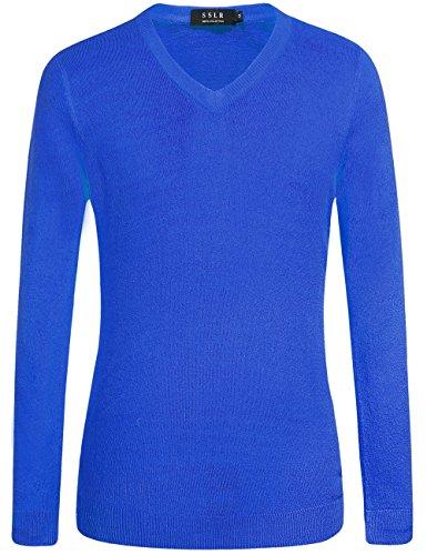 SSLR Herren Einfarbig Klassisch V Ausschnitt Solid Pullover Blau