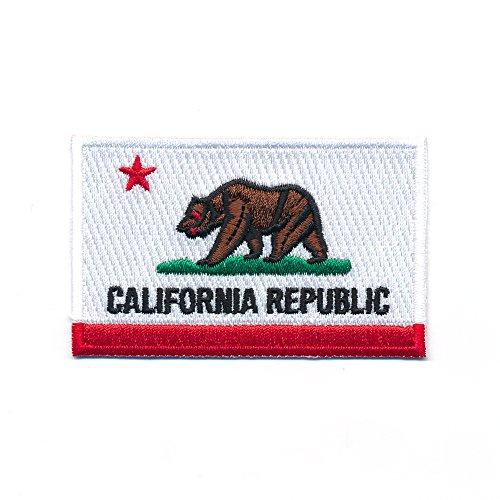 60 x 35 mm USA Kalifornien Sacramento California Flagge Patch Aufnäher Aufbügler 0969 B
