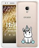 Sunrive Für Alcatel 1X Hülle Silikon, Transparent Handyhülle Schutzhülle Etui Case für Alcatel 1X 5059D(TPU Einhorn 3)+Gratis Universal Eingabestift