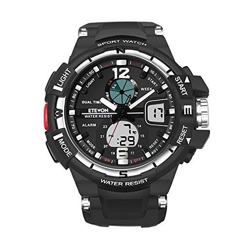 """ETEVON Herren """"Galaxie"""" Doppelte Schnalle Analog Digitale Uhren Wecker LED Licht Zwei Zeitzonen Wasserdicht, Mode Outdoor Sport Armbanduhr für Männer (Analog-digital Uhr Fossil)"""
