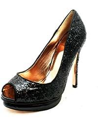 Zapatos de las señoras brillantes de tacón alto del dedo del pie abierto partido