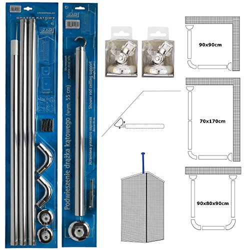 Rail Support-adapter (Duschvorhangschienen, U- und L-Form, 3-Wege, abgewinkelt, Wandadapter, Deckenstütze, für Badewanne/Dusche, Silver Rail + Support+ 2 Adapters)