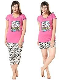 AV2 Women's Cotton Printed Top, Capri and Shorts Set