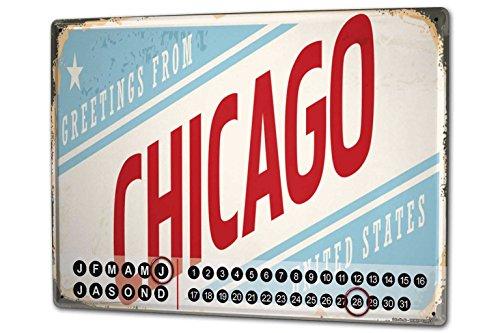 Wandkalender 2019 Jahreskalender Dauerkalender 2020 Kalender 2021 Terminplaner Fotokalender Reisen Küche Chicago USA Metall Magnet Chicago Küche