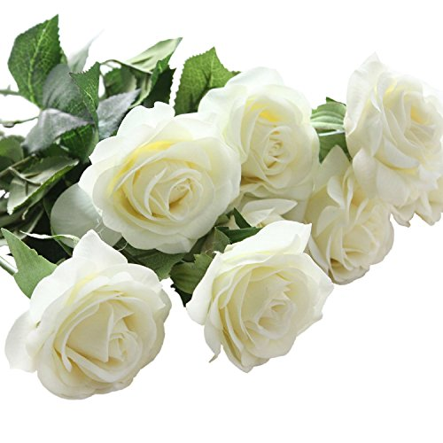 White roses amazon 10 pcs artificial real touch silk rose flower bouquets for vase wedding home or birthday garden decorationswhite mightylinksfo