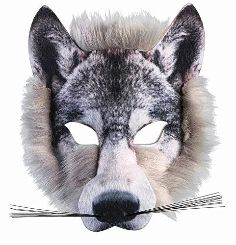 Kostüm One Of A Kind Hunde - Forum Novelties x78180Wolf Realistische Kunstpelz Gesichtsmaske, Grau, ONE SIZE