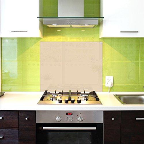 Pantalla antisalpicaduras de cristal / Panel de vidrio templado para cocina, 75 x 60 cm, Marfil, UltraClear ® Glass