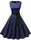 Gardenwed Damen 1950er Vintage Cocktailkleid Rockabilly Retro Schwingen Kleid Faltenrock Navy Small White Dot XL