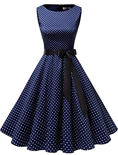 Gardenwed Damen 1950er Vintage Cocktailkleid Rockabilly Retro Schwingen Kleid Faltenrock Navy Small White Dot M -