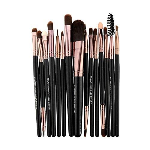 wlgreatsp 15 pcs Brosses Set Kit Bois Maquillage Fard à Paupières Sourcils Fondation Mascara Lèvre