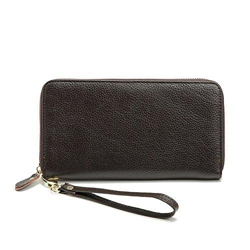 Gendi Vera Pelle Borsa lunga femminile Portafoglio Donne Pocket Donna con Zipper Pocket (rosa) marrone