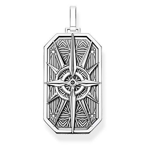 THOMAS SABO Unisex Anhänger Kompass Stern Silber 925 Sterlingsilber, Geschwärzt PE868-643-11 -