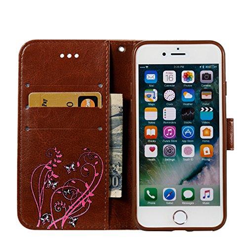 Case MAGQI iPhone 7 / iPhone 8 4.7 Custodia,Morbido Durevole Portafoglio in Pelle PU Premium Rosa Farfalla Embossed Fiore Modello Copertina Basamento del Telefono Flip Stile Libro Copertura Protetti Marrone