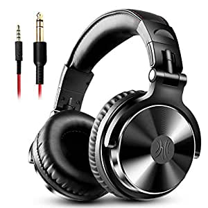 OneOdio Wired Over Ear Headphones - Adapter Free Closed Back & Mixing DJ Stereo Headset for AMP Computer Recording Phone Piano Guitar Laptop - Black Professional Studio Monitor Headphone