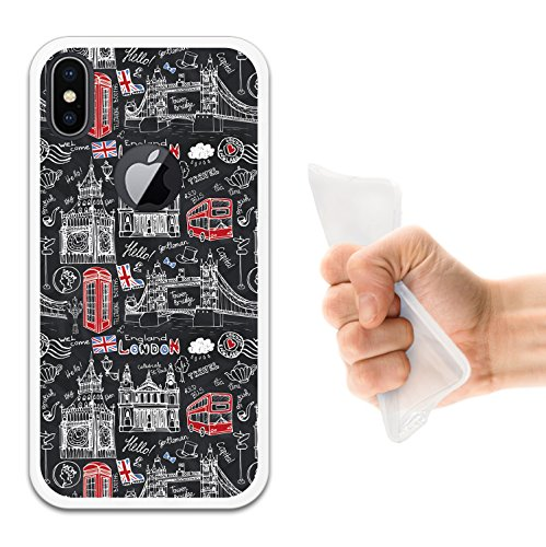 iPhone X Hülle, WoowCase Handyhülle Silikon für [ iPhone X ] Fußballfield Handytasche Handy Cover Case Schutzhülle Flexible TPU - Schwarz Housse Gel iPhone X Transparent D0307