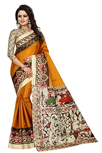 FabDiamond Women's Kalamkari Khadi Silk Saree With Blouse (Yellow, Cotton)