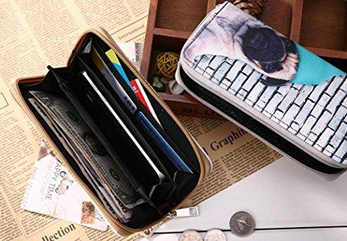 Portafoglio Donna, Tpulling Sacchetto di telefono multifunzionale del supporto della carta della borsa della borsa della borsa della chiusura lampo del cuoio delle donne (Blue) White