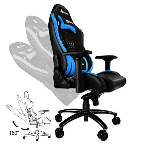KLIM eSports - High Quality Gaming Chair - NEW - Precise Finish - Adjustable - Blue Cushions